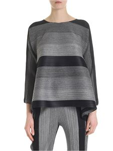 PLEATS PLEASE Issey Miyake - Black and gray melange blouse