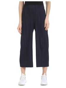 PLEATS PLEASE Issey Miyake - Blue pleated crop trousers