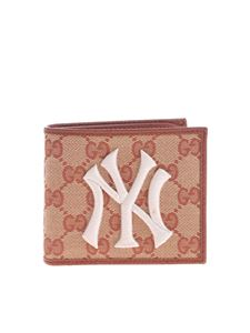 Gucci - Beige and brown wallet with NY Yankees ™ logo