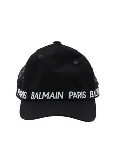 Balmain - Black mesh cap with logo