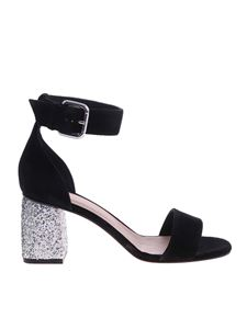 Red Valentino - Black sandals with glittered heels