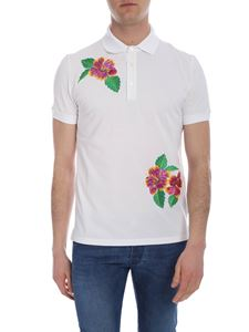 Ballantyne - White polo with multicolor floral embroidery