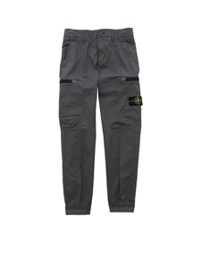 Stone Island Junior - Grey trousers with elastic bottom