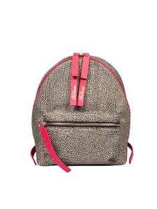Borbonese - Small backpack in Jet OP with azalea details