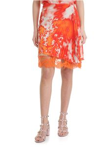 MSGM - Orange MSGM skirt with tie-dye motif