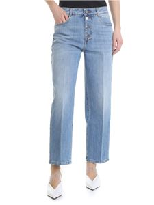 Stella McCartney - Jeans crop in denim azzurro