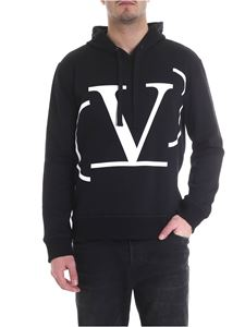 Valentino - Black hooded sweatshirt with V logo print