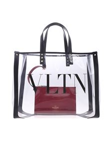 Valentino - Small transparent pvc VLTN shopping bag