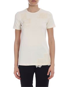 Ermanno by Ermanno Scervino - Ivory color t-shirt with lace inserts