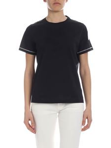 Moncler - Black t-shirt with lamé inserts