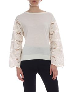Moncler - Pullover in ivory color with floral embroidery