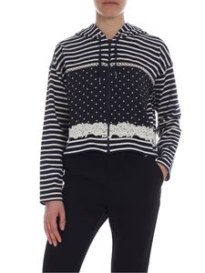 Ermanno by Ermanno Scervino - White and blue crop hoodie with stripes and polka dots