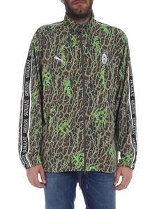 Puma - Green sweatshirt with brown, beige and neon green print