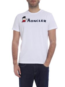 Moncler - White T-shirt with logo writing