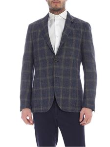 Lardini - Blue and brown checked jacket