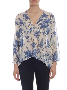 Semicouture - Cream colored blouse with floral pattern