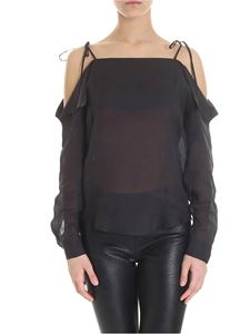 Tela - Black Nettare blouse with thin straps
