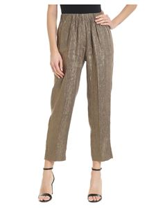 Forte Forte - Golden laminated straight trousers