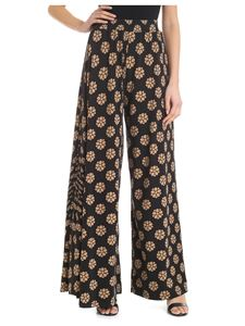 MM6 by Maison Martin Margiela - Wide black and beige floral trousers