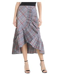 Tela - Gray Cancan skirt with check pattern