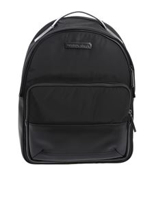 Emporio Armani - Compact black backpack in eco leather and fabric