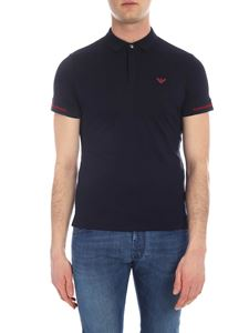 Emporio Armani - Blue polo with red logo and details