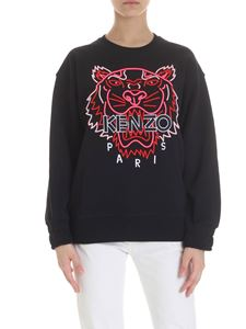 Kenzo - Black sweatshirt with pink and red Tiger embroidery
