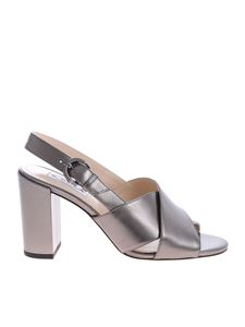 Tod's - Sandals in grey laminated leather