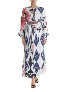 Bazar Deluxe - Long dress optical print in white and blue