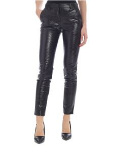 Philosophy di Lorenzo Serafini - Slim pants in black reptile eco-leather