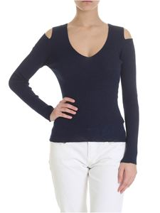 Zanone - Cut-out shoulders pullover in blue