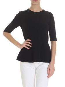 Zanone - T-shirt with flounce in black