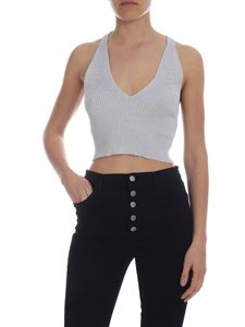 Zanone - Ribbed lamè top in gray