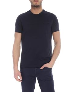 Fay - T-shirt with pocket in blue