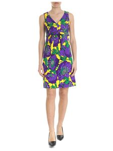 Parosh - Floral dress in yellow and purple