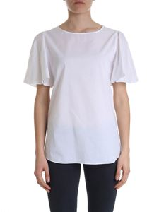 Moschino Boutique - T-shirt with ruffled sleeves in white