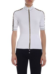 Versace Collection - Short-sleeved knitted jacket in white