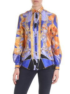 Versace Collection - Printed shirt with blue and orange print