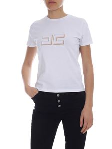Elisabetta Franchi Jeans - Embroidered logo t-shirt in white