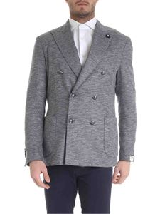 Lardini - Double-breasted jacket in shades of blue