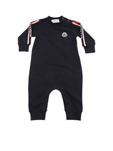 Moncler Jr - Stretch cotton romper suit in blue