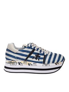 Premiata - Beth striped sneakers in blue and white
