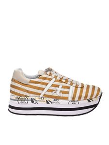 Premiata - Beth striped sneakers in yellow and white