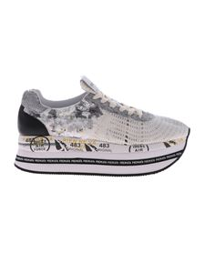 Premiata - Beth white sneakers with silver sequins