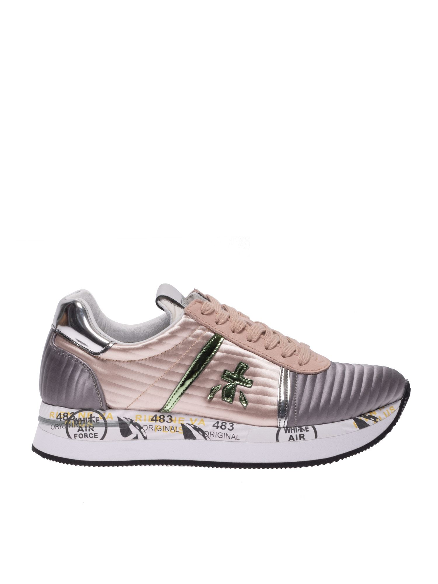 Premiata CONNY QUILTED SNEAKERS IN GRAY AND PINK