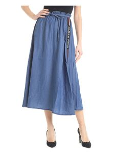 Gaelle Paris - Blue chambray skirt with branded bands