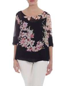 Twin-Set - Black blouse with floral print
