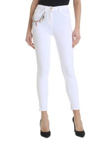 Elisabetta Franchi Jeans - White jeans with multicolor chain