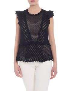 Twin-Set - Black cut-out knitted top