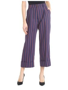 berWich - Blue Futura cropped trousers with stripe pattern